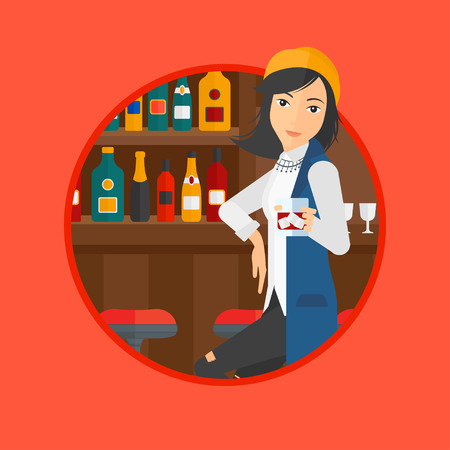 young woman sitting: A young woman sitting at the bar counter. Woman sitting with glass in bar. Cheerful young woman sitting alone at the bar counter. Vector flat design illustration in the circle isolated on background.