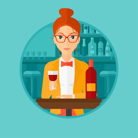 A woman sitting at the table with glass and bottle of wine. Woman drinking wine at bar. Woman enjoying a drink at wine bar. Vector flat design illustration in the circle isolated on background.