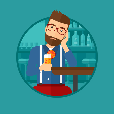 alone sad: A sad hipster man sitting at the bar with glass of orange cocktail. Man sitting alone at the bar and drinking orange cocktail. Vector flat design illustration in the circle isolated on background.