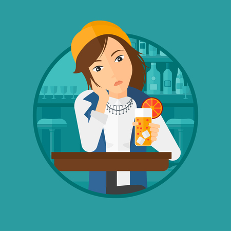 alcohol abuse: A sad woman sitting at the bar with glass of orange cocktail. Woman sitting alone at the bar and drinking orange cocktail. Vector flat design illustration in the circle isolated on background.