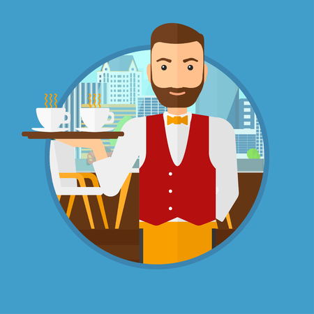 waiter tray: A hipster waiter with the beard holding a tray with cups of tea or coffee. Waiter with cups of coffee or tea at the bar. Vector flat design illustration in the circle isolated on background. Illustration