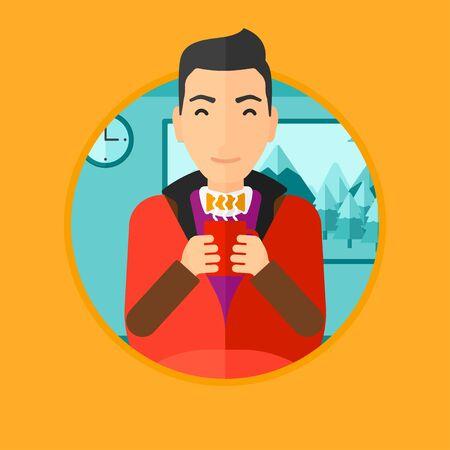 hombre tomando cafe: Hombre que se relaja bajo la manta con la taza de caf�. Hombre que bebe el caf� en casa. Hombre sosteniendo la taza de caf� con sabor caliente. amante del caf�. Vector ilustraci�n de dise�o plano en el c�rculo aislado en el fondo. Vectores