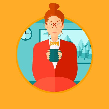 woman drinking coffee: Woman relaxing under blanket with cup of coffee. Woman drinking coffee at home. Woman holding a cup of hot flavored coffee or tea. Vector flat design illustration in the circle isolated on background.