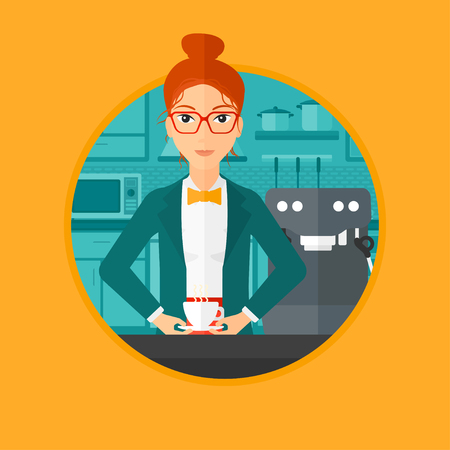 Woman making coffee with a coffee-machine. Woman with hot cup of coffee. Woman standing in the kitchen beside a coffee machine. Vector flat design illustration in the circle isolated on background. Çizim