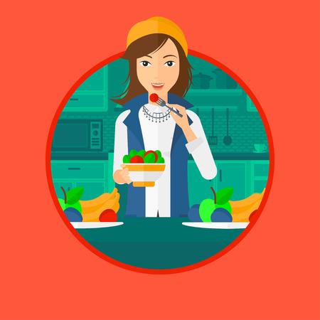 cartoon kitchen: Mujer comiendo ensalada saludable. Mujer que come la ensalada de verduras frescas en casa. Mujer que sostiene un tazón lleno de ensalada en la cocina. Vector ilustración de diseño plano en el círculo aislado en el fondo.