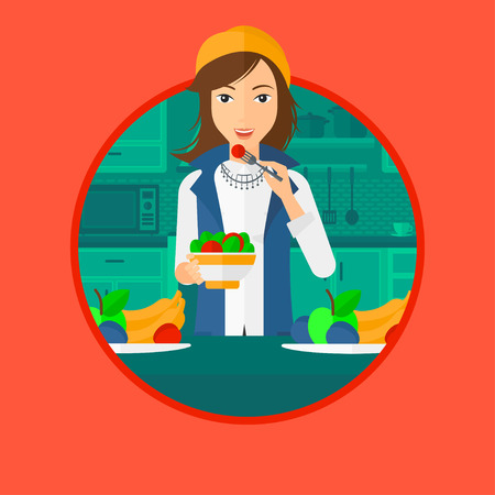 eating fruit: Woman eating healthy vegetable salad. Woman eating fresh vegetable salad at home. Woman holding bowl full of salad in the kitchen. Vector flat design illustration in the circle isolated on background.