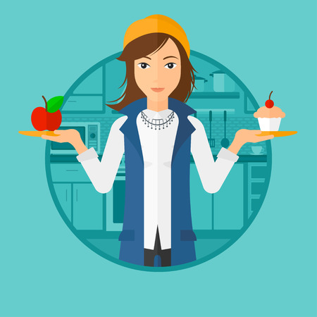 dieting: Young woman standing with apple and cupcake in hands in the kitchen. Woman choosing between apple and cupcake. Dieting concept. Vector flat design illustration in the circle isolated on background. Illustration