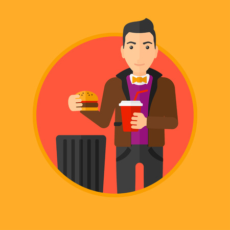 poor diet: Man putting junk food into trash bin. Man refusing to eat junk food. Man rejecting fast food. Man throwing junk food. Diet concept.Vector flat design illustration in the circle isolated on background.