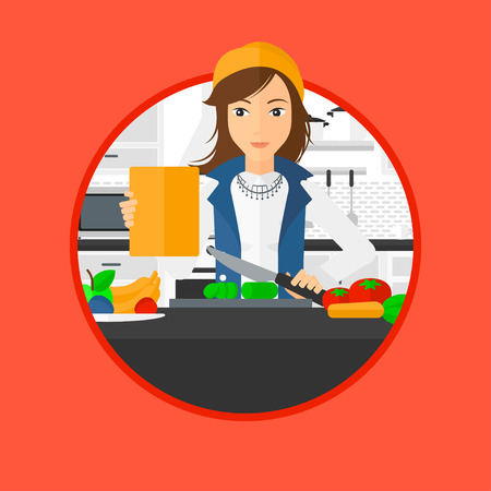 Woman cutting vegetables for salad. Woman following recipe for salad on digital tablet. Woman cooking healthy salad in kitchen. Vector flat design illustration in the circle isolated on background. Illusztráció
