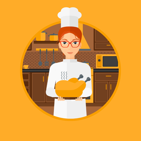 whole chicken: Chief cooker holding roasted chicken in the kitchen. Chief cooker with whole baked chicken. Chief cooker with fried chicken. Vector flat design illustration in the circle isolated on background. Illustration