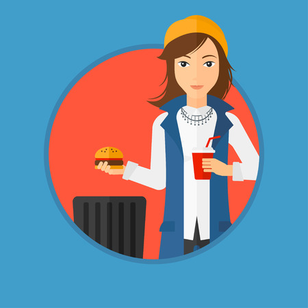 cut away: Woman putting junk food into a trash bin. Woman refusing to eat junk food. Woman rejecting fast food. Woman throwing junk food. Vector flat design illustration in the circle isolated on background.