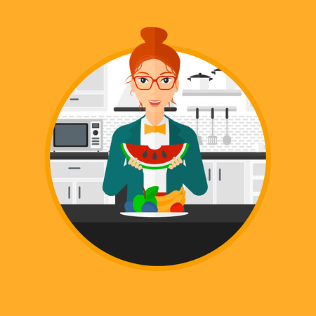 watermelon woman: Woman eating watermelon in front of table full of fresh fruits. Smiling young woman holding a slice of watermelon in the kitchen. Vector flat design illustration in the circle isolated on background.