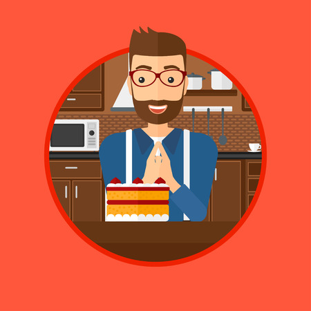 A happy hipster man with the beard looking with passion at a big cake. Man standing in front of delicious cake in the kitchen. Vector flat design illustration in the circle isolated on background.