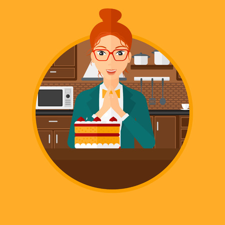 poor diet: A happy woman looking with passion at a big cake. Woman standing in front of cake in the kitchen. Woman craving delicious cake. Vector flat design illustration in the circle isolated on background.