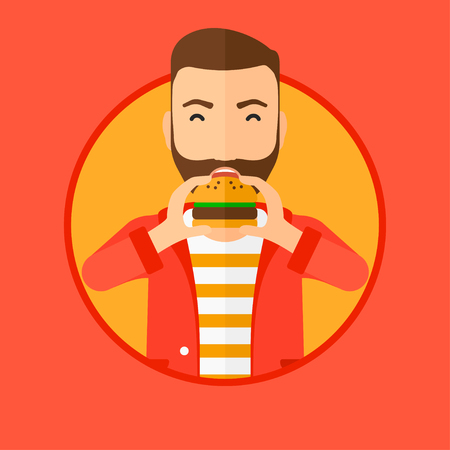 Hipster man with the beard eating hamburger. Happy man with eyes closed biting hamburger. Man is about to eat delicious hamburger. Vector flat design illustration in the circle isolated on background.