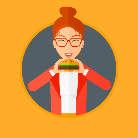 craving: Young woman eating hamburger. Happy woman with eyes closed craving hamburger. Woman is about to eat delicious hamburger. Vector flat design illustration in the circle isolated on background.