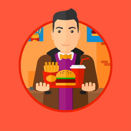 lunch tray: A fat young man holding tray full of junk food. Smiling man in fast food restaurant. Man having lunch in a fast food restaurant. Vector flat design illustration in the circle isolated on background.
