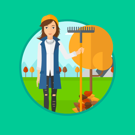 raking: A woman raking autumn leaves. Woman with rake standing near tree and heap of autumn leaves. Woman tidying autumn leaves in garden. Vector flat design illustration in the circle isolated on background.