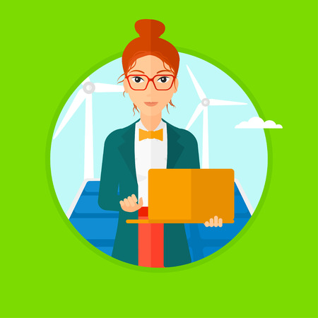 cartoon wind: A female worker of solar power plant and wind farm. Woman with laptop on a background of solar power plant and wind turbines. Vector flat design illustration in the circle isolated on background.