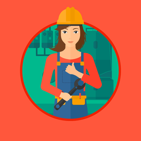 A female repairman with a spanner in hand. A repairman giving thumb up. A repairman at domestic household boiler room. Vector flat design illustration in the circle isolated on background.