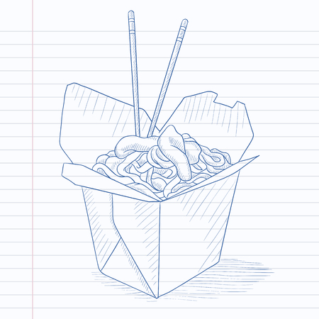 chinese take away container: Chinese food and chopsticks in a takeaway container. Chinese food hand drawn on notebook paper in line background. Chinese food vector sketch illustration.