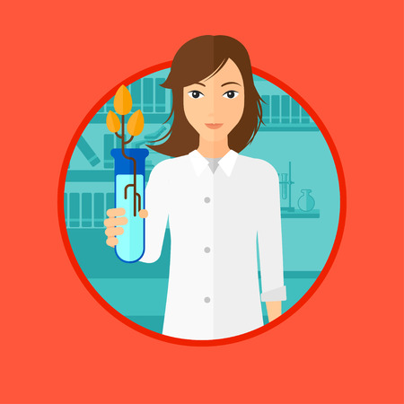 Scientist holding test tube with young plant. Scientist analyzing plant in test tube. Scientist holding test tube with sprout. Vector flat design illustration in the circle isolated on background. Stock Illustratie