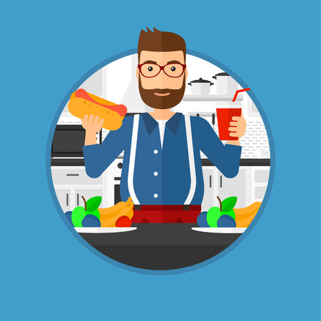 junk food fast food: Fat hipster man eating fast food. Man holding fast food in hands in the kitchen. Man choosing between fast food and healthy food. Vector flat design illustration in the circle isolated on background.