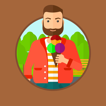 cartoon ice cream: A hipster young man with the beard eating a big ice cream. Man holding an ice cream in hand. Man enjoying an ice cream at park. Vector flat design illustration in the circle isolated on background. Illustration