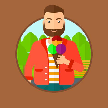 helados caricatura: Un joven inconformista de la barba de comer un helado grande. Hombre que sostiene un helado en la mano. El hombre disfruta de un helado en el parque. Vector ilustración de diseño plano en el círculo aislado en el fondo.