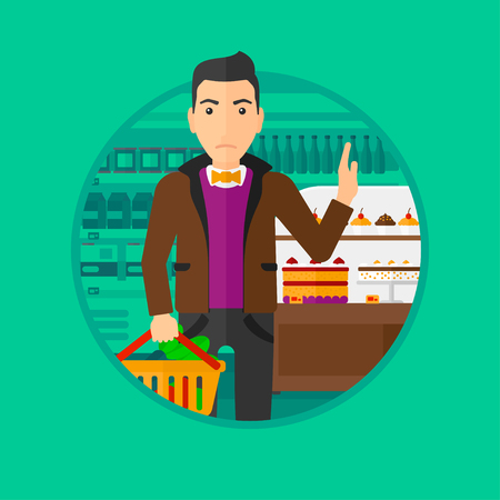 poor diet: Man holding basket full of healthy food and refusing junk food. Man rejecting junk food in supermarket. Man choosing healthy food. Vector flat design illustration in the circle isolated on background.