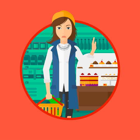 poor diet: Woman holding basket with healthy food and refusing junk food. Woman choosing healthy food and rejecting junk food in supermarket. Vector flat design illustration in the circle isolated on background. Illustration