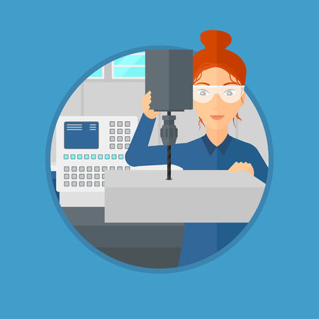 milling: Woman working on milling machine at workshop. Woman using milling machine at factory. Woman making a hole using a milling machine. Vector flat design illustration in the circle isolated on background.