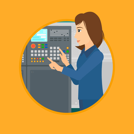 Woman working on control panel. Woman pressing button at control panel in plant. Engineer standing in front of the control panel. Vector flat design illustration in the circle isolated on background. Ilustração