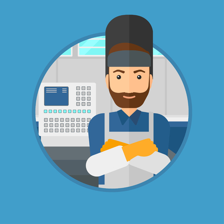 industrial worker: A hipster welder with the beard at factory workshop. Industrial worker with protective welder mask. Welder with arms crossed. Vector flat design illustration in the circle isolated on background.