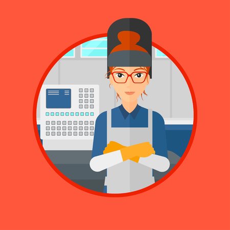 industrial worker: Welder at factory workshop. Industrial worker with protective welder mask. Welder with arms crossed on background of control panel.Vector flat design illustration in the circle isolated on background.