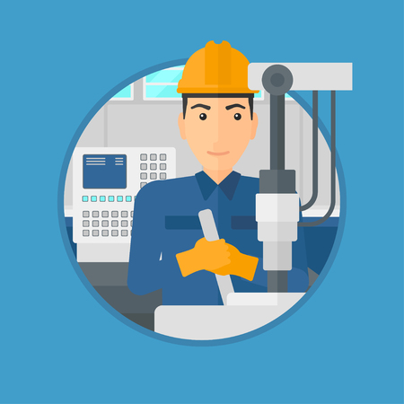metalworker: Man working on industrial drilling machine. Man using drilling machine at manufactory. Metalworker drilling at workplace. Vector flat design illustration in the circle isolated on background.