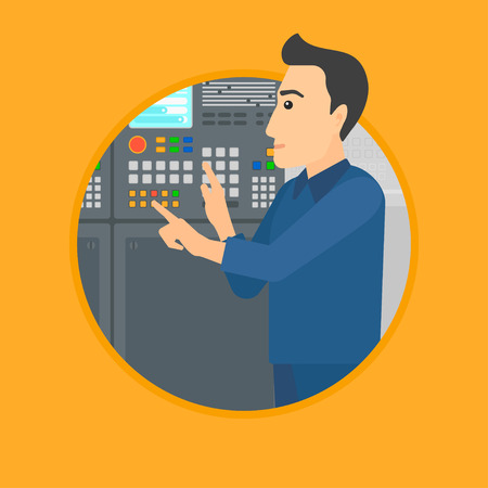 button front: Man working on control panel. Man pressing button at control panel in plant. Engineer standing in front of the control panel. Vector flat design illustration in the circle isolated on background.