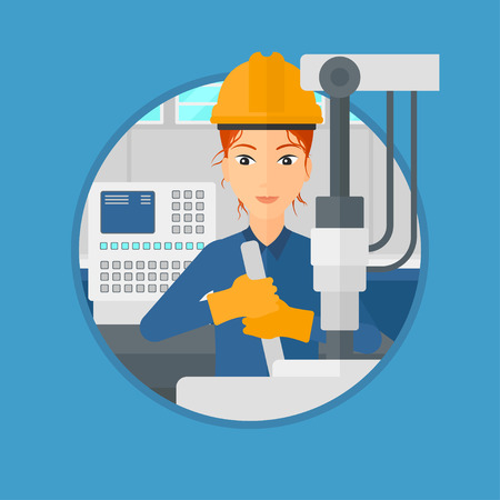 Woman working on industrial drilling machine. Woman using drilling machine at manufactory. Metalworker drilling at workplace. Vector flat design illustration in the circle isolated on background.