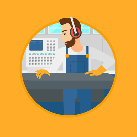 Hipster man with the beard working on metal press machine. Worker in headphones operating metal press machine at factory workshop. Vector flat design illustration in the circle isolated on background. Иллюстрация