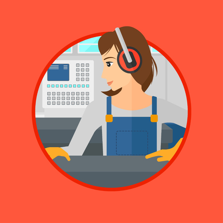 metal worker: Woman working on metal press machine. Worker in headphones operating metal press machine at workshop. Woman using press machine. Vector flat design illustration in the circle isolated on background.