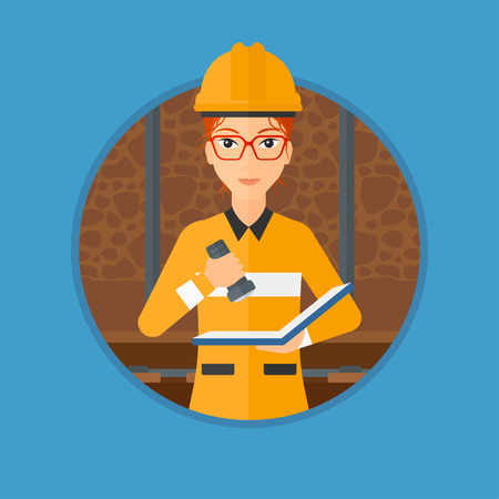 checking: Miner checking documents with the flashlight. Mine worker in hard hat. Miner in the coal mine. Vector flat design illustration in the circle isolated on background.