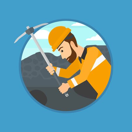 mine worker: A hipster miner with the beard working with a pickaxe. Mine worker in hard hat. Miner at the coal mine. Vector flat design illustration in the circle isolated on background. Illustration
