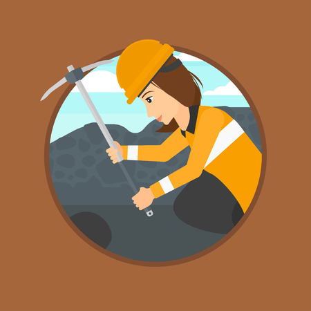 quarry: Miner working with a pickaxe. Mine worker in hard hat. Miner at the coal mine. Vector flat design illustration in the circle isolated on background.