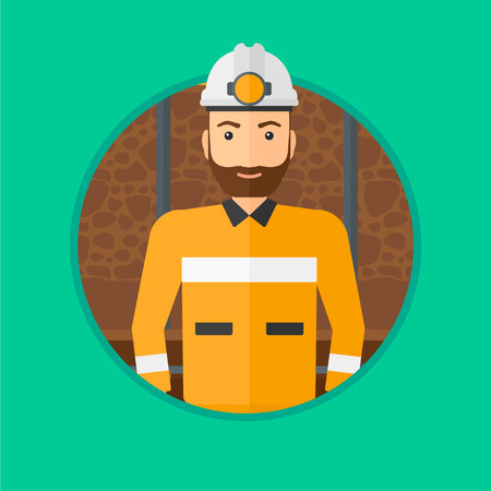 coal miner: Confident coal miner. A hipster miner with the beard in hardhat with torch. Miner standing in the coal mine. Vector flat design illustration in the circle isolated on background.