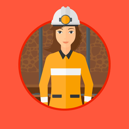 coal mine: Confident coal miner. A female miner in hardhat with torch. Miner standing in the coal mine. Vector flat design illustration in the circle isolated on background.