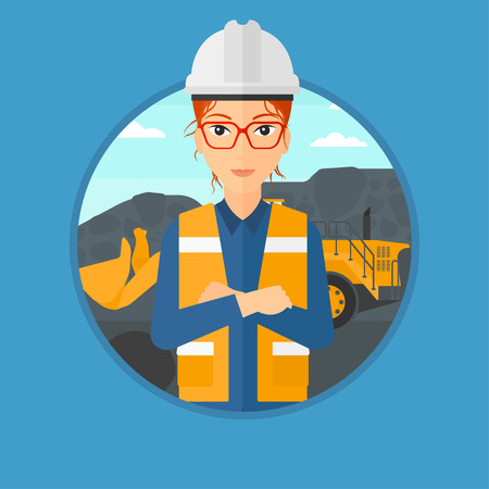 quarry: A miner standing in front of a big excavator. Miner with crossed arms. Miner wearing hard hat at coal mine. Vector flat design illustration in the circle isolated on background. Illustration