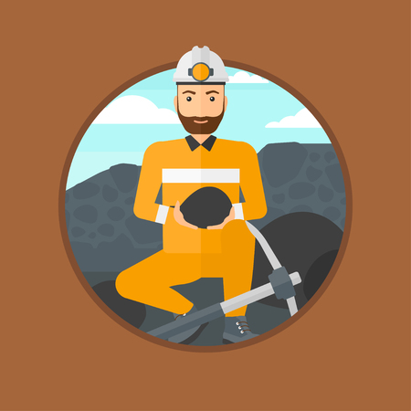 pickaxe: A hipster miner with the beard sitting with coal in the hands. Miner with a pickaxe at coal mine. Miner working at coal mine. Vector flat design illustration in the circle isolated on background.