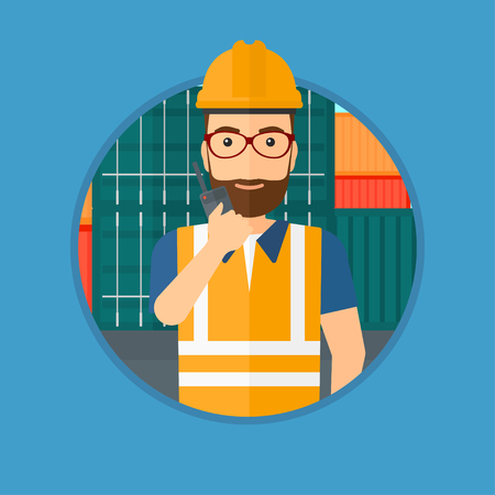 port: Port worker talking on wireless radio. Port worker standing on cargo containers background. Port worker using wireless radio. Vector flat design illustration in the circle isolated on background.
