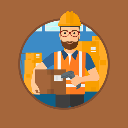 warehouse worker: Hipster warehouse worker scanning barcode on box. Warehouse worker checking barcode of box with a scanner. Warehouse worker in hard hat with scanner. Vector flat design illustration in the circle. Illustration