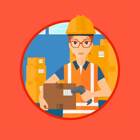 warehouse worker: Female warehouse worker scanning barcode on box. Warehouse worker checking barcode of box with a scanner. Warehouse worker in hard hat with scanner. Vector flat design illustration in the circle.